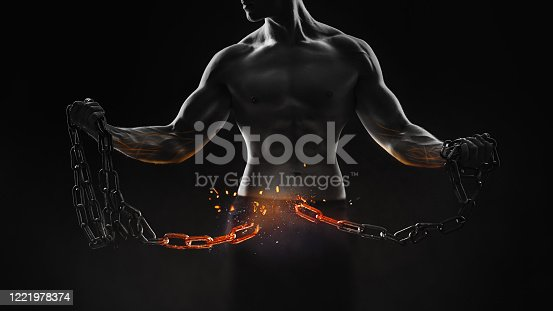 Concept - broken metal chain. Strong one with perfect muscles breaks the chain.