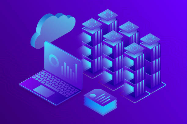 concept business analytics, data center or hosting server room background. computer storage workstation. 3d isometric illustration. - advertising isometric stock photos and pictures