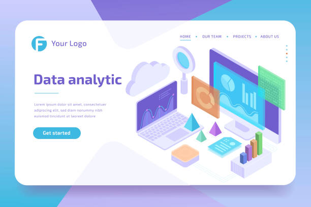 concept business analytics of data financial graphs or diagrams, landing page template. financial review with laptop. 3d isometric illustration. - advertising isometric stock pictures, royalty-free photos & images