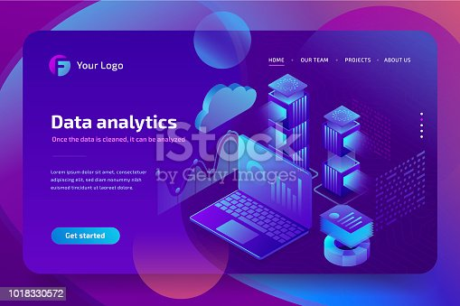 istock Concept business analytics of data financial graphs or diagrams, landing page template. Financial review with laptop. 3d isometric illustration. 1018330572