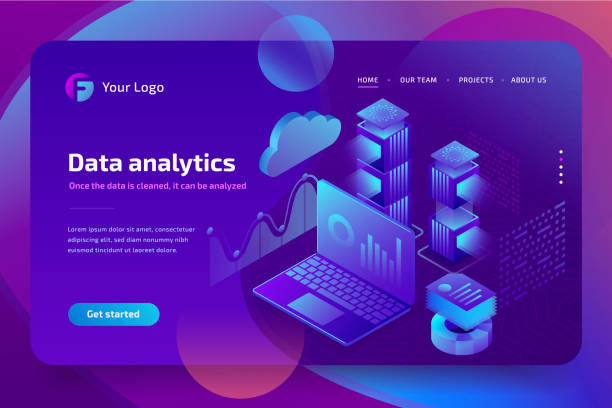 concept business analytics of data financial graphs or diagrams, landing page template. financial review with laptop. 3d isometric illustration. - advertising isometric stock photos and pictures