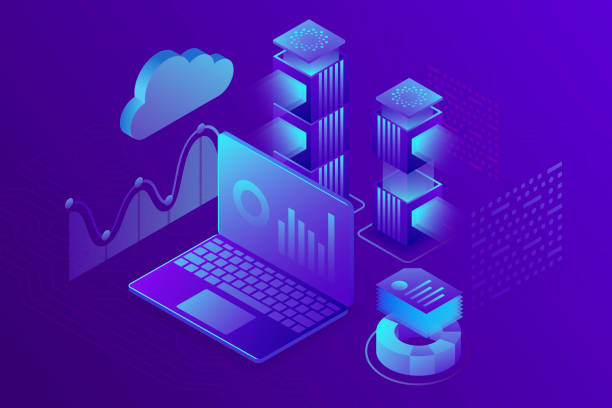 concept business analytics, strategy of data financial graphs or diagrams. financial review, analysis data and investment. 3d isometric illustration. - advertising isometric stock photos and pictures