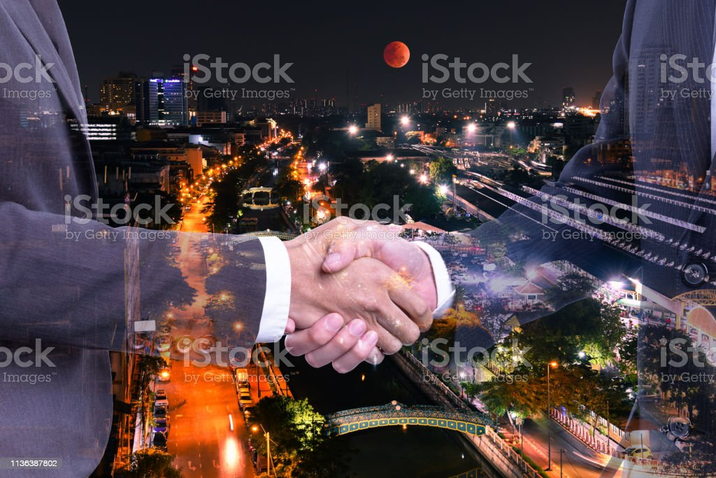 Concept Business Double Exposure Of Businessman Making Handshake