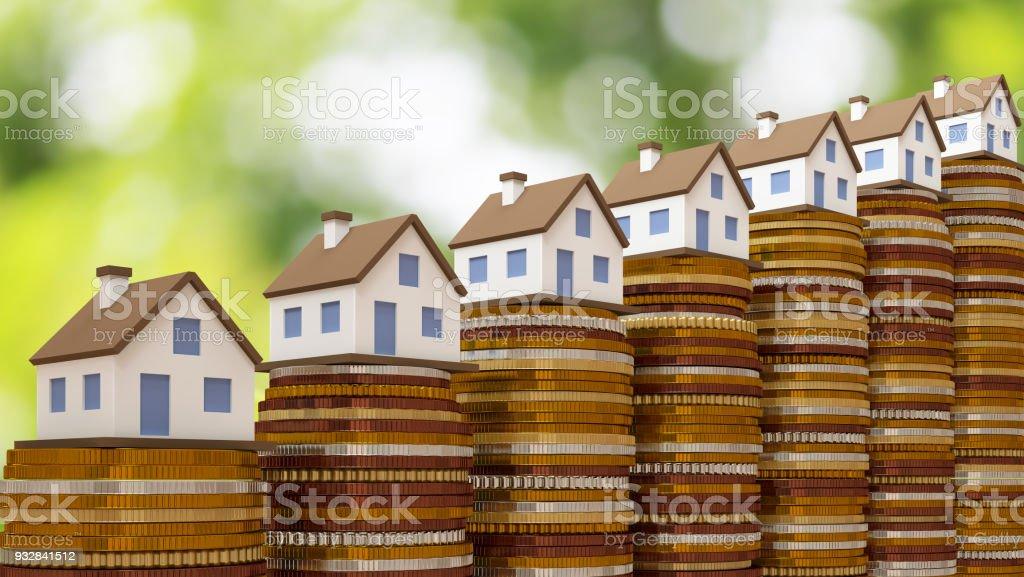 Concepto por la casa de dinero de monedas - foto de stock