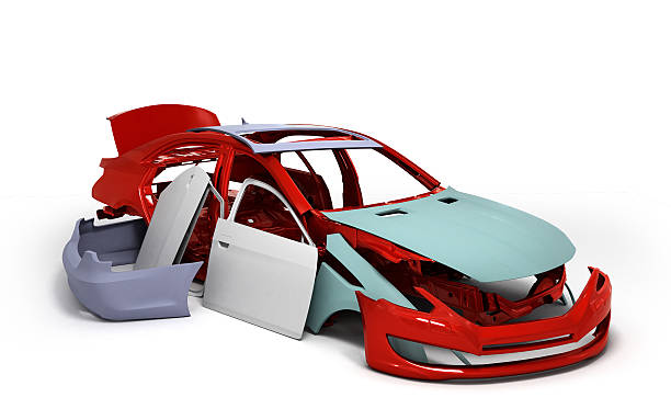 concept car painted red body and primed parts near isolated stock photo