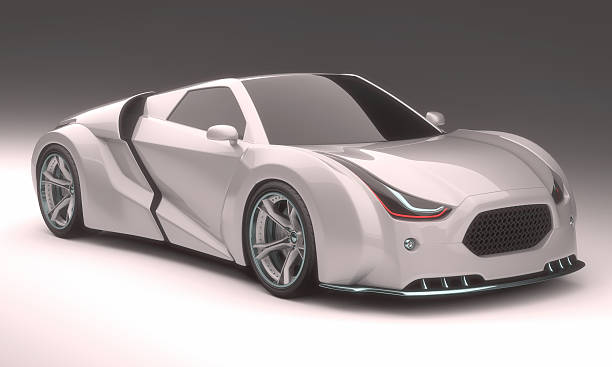 3D Concept Car 3D illustration, concept car without reference based on real vehicles. Clipping path included. concept car stock pictures, royalty-free photos & images