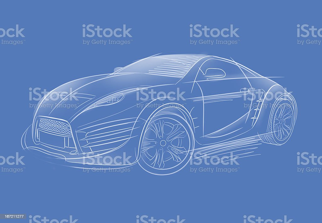Concept car sketch royalty-free stock photo