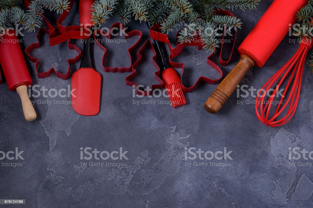 Concept Christmas background for recipe stock photo