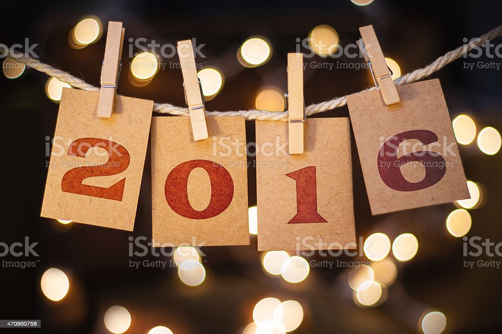 2016 Concept Clipped Cards and Lights stock photo