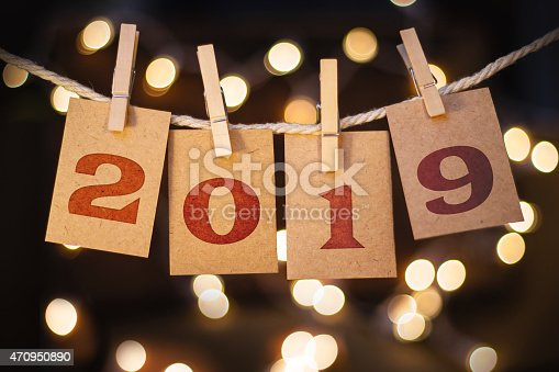 istock 2019 Concept Clipped Cards and Lights 470950890