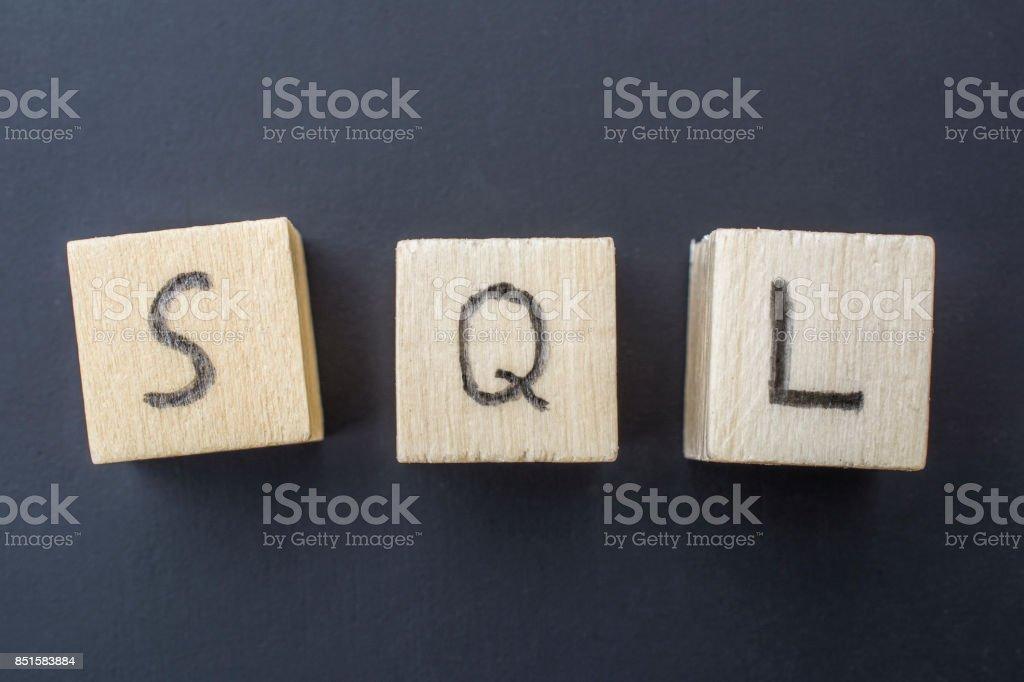 SQL concept close-up photo stock photo