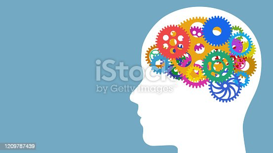AI (Artificial Intelligence) concept. Cogwheels in the brain.
