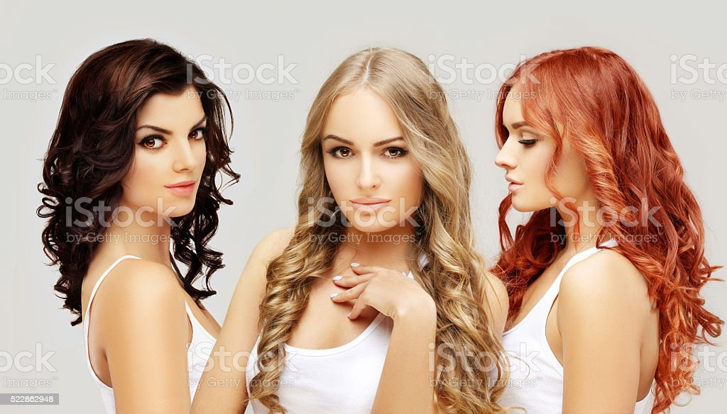 Concept Coloring Hair.Curly hair stock photo