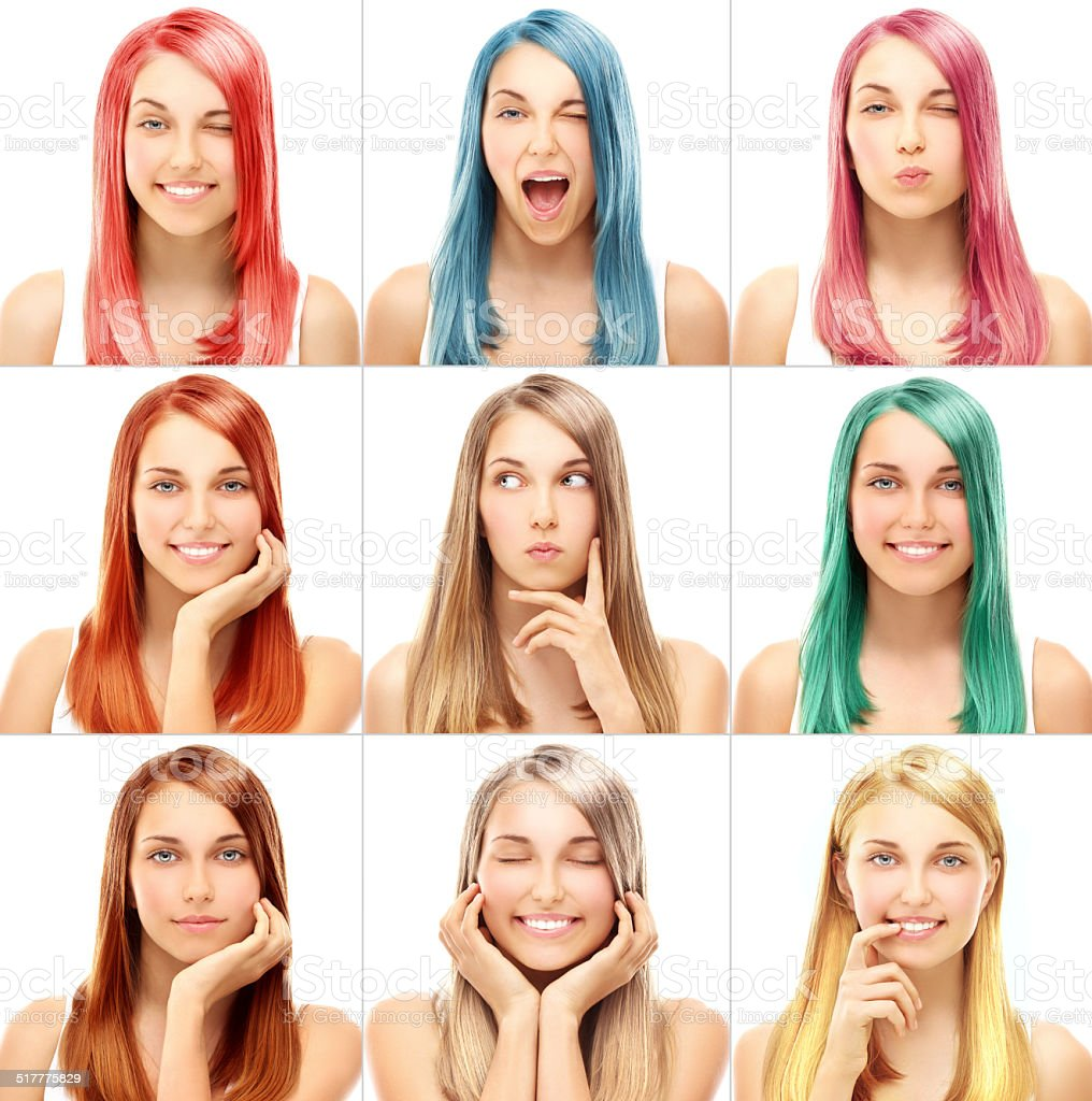 Concept Coloring Hair.Street style-colored hair stock photo