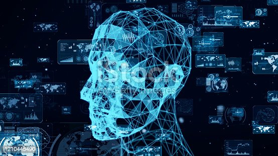 851956150 istock photo AI (Artificial Intelligence) concept. Communication network. 3D rendering. 1210445490