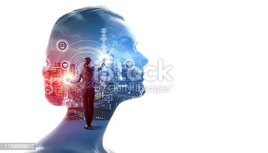 1054574034istockphoto AI (Artificial Intelligence) concept. Communication network. 1159996512