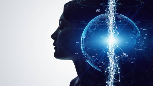 ai-konceptet (artificiell intelligens). kommunikationsnät. - earth from space bildbanksfoton och bilder