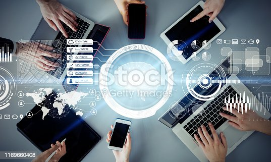istock AI (Artificial Intelligence) concept. Communication network. 1169660408