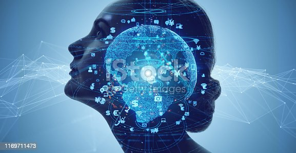 990107166 istock photo AI (Artificial Intelligence) concept. Communication network. 1169711473