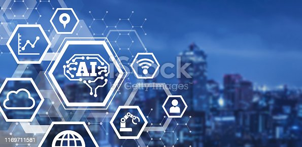 852015986 istock photo AI (Artificial Intelligence) concept. Communication network. 1169711581