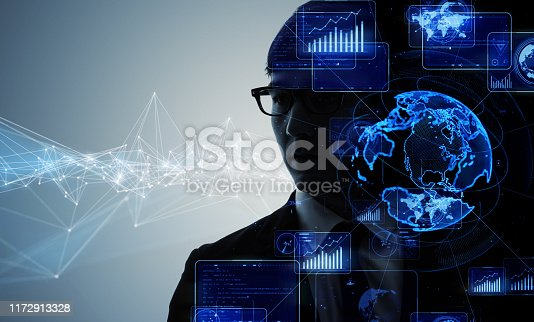 istock AI (Artificial Intelligence) concept. Communication network. 1172913328