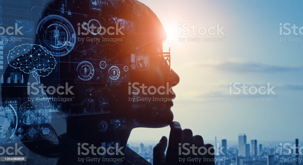 AI (Artificial Intelligence) concept. Communication network. - Royalty-free 5G Stock Photo