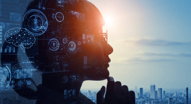 AI (Artificial Intelligence) concept. Communication network. stock photo