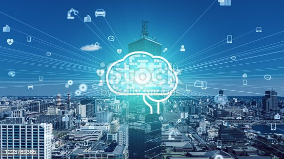 904420364 istock photo AI (Artificial Intelligence) concept. Communication network. 1223789365