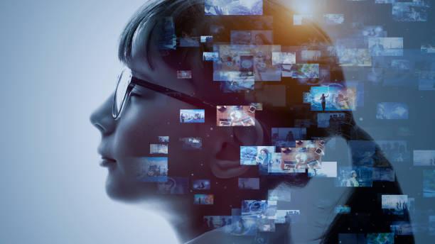sztuczna inteligencja. koncepcja zawartości. serwis społecznościowy. przesyłanie strumieniowe wideo. sieci komunikacyjnej. - atmosfera wydarzenia zdjęcia i obrazy z banku zdjęć