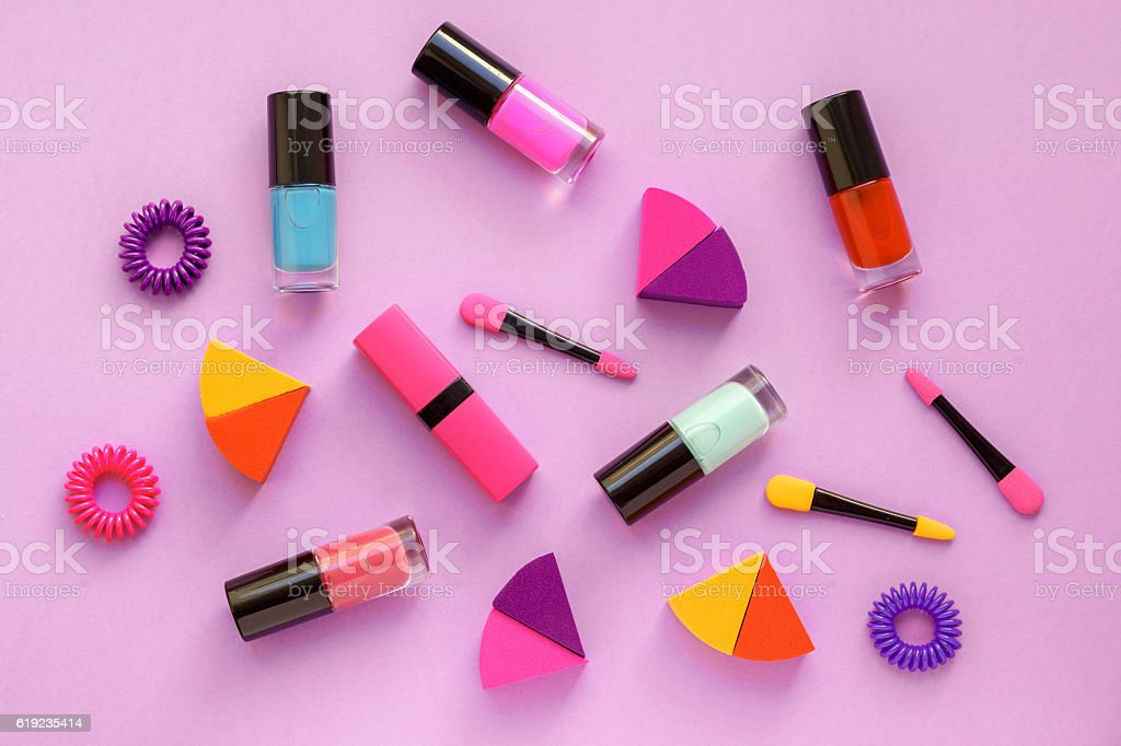 Concept Cosmetic Set On Pink Background Top View Stock Photo