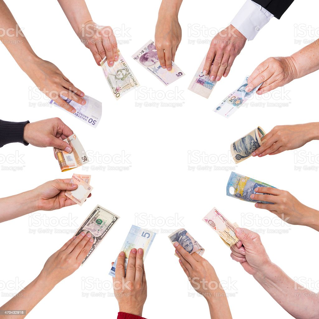 concept crowdfunding with a lot of hands stock photo