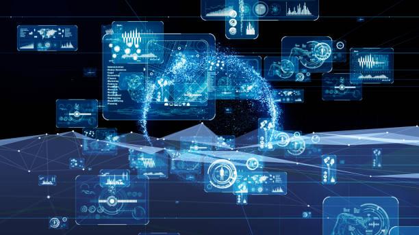 concetto gui (graphical user interface). cyberspazio. - mercato luogo per il commercio foto e immagini stock