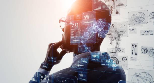 ai (inteligencia artificial). aprendizaje profundo. gui (interfaz gráfica de usuario). - inteligencia artificial fotografías e imágenes de stock