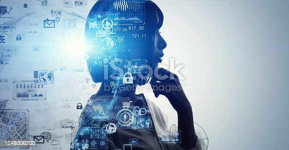990107166 istock photo AI (Artificial Intelligence) concept. Deep learning. GUI (Graphical User Interface). 1249306203