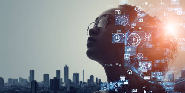 AI (Artificial Intelligence) concept. Deep learning. GUI (Graphical User Interface). stock photo