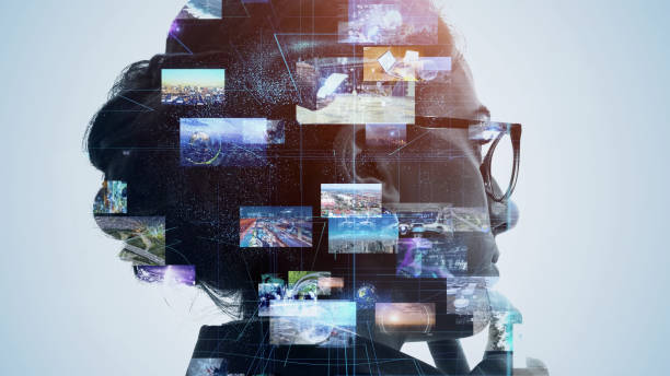 AI (Artificial Intelligence) concept. Deep learning. Mindfulness. Psychology. stock photo