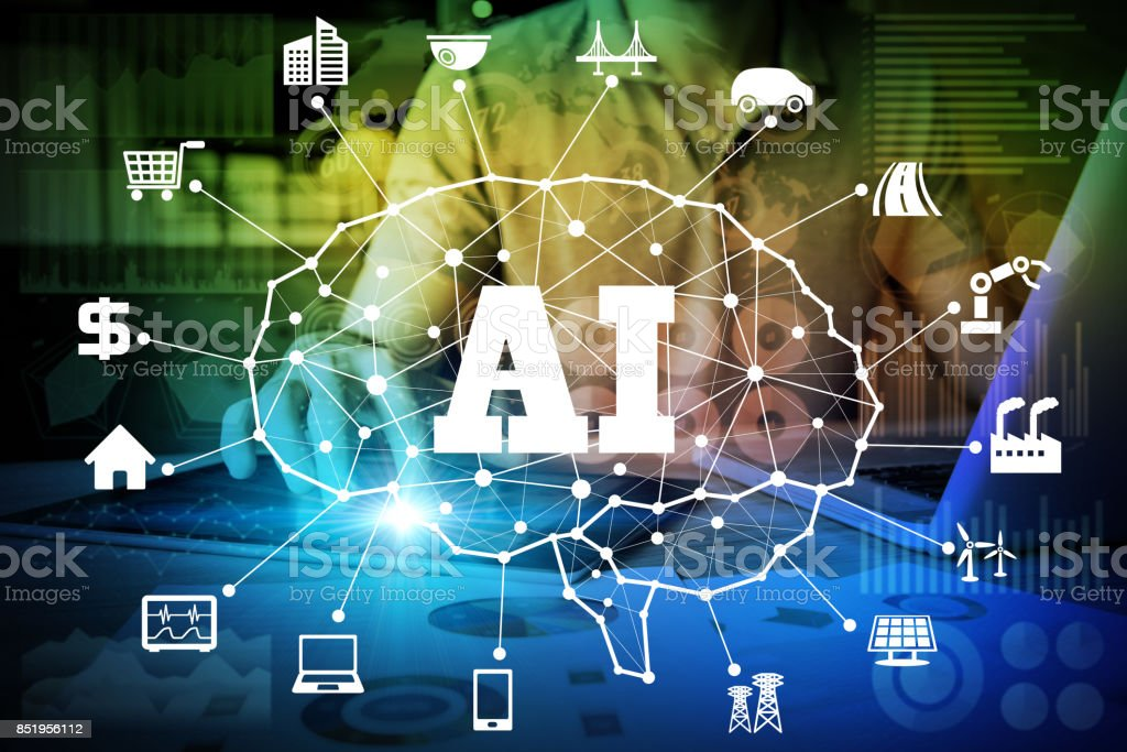 AI(Artificial Intelligence) concept. deep learning. stock photo