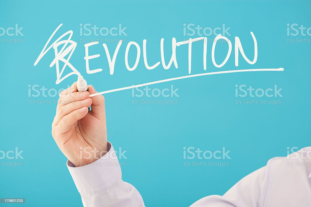 A concept design for 'Evolution, Not Revolution' royalty-free stock photo