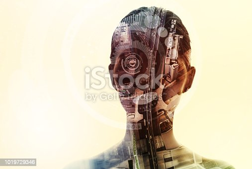 istock AI (artificial Intelligence) concept. Double exposure of a human silhouette and cityscape. 1019729346