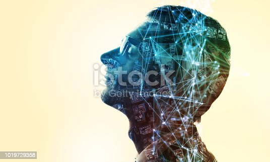 AI (artificial Intelligence) concept. Double exposure of a human silhouette and cityscape.