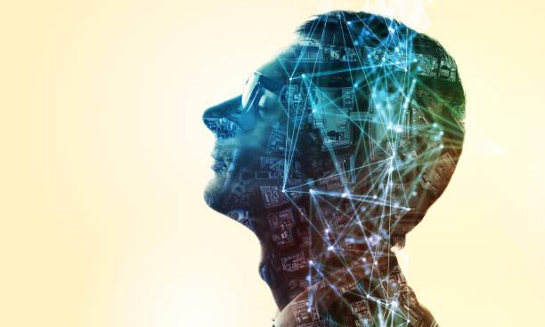 ai (kunstmatige intelligentie) concept. dubbele blootstelling van een menselijke silhouet en het stadsgezicht. - dubbelopname businessman stockfoto's en -beelden