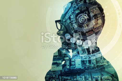 1140691204istockphoto AI (artificial Intelligence) concept. Double exposure of a human silhouette and cityscape. 1019729360