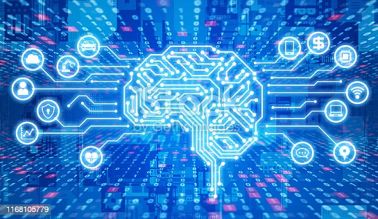 851956284istockphoto AI (Artificial Intelligence) concept. Electronic circuit. Communication network. 1168105779
