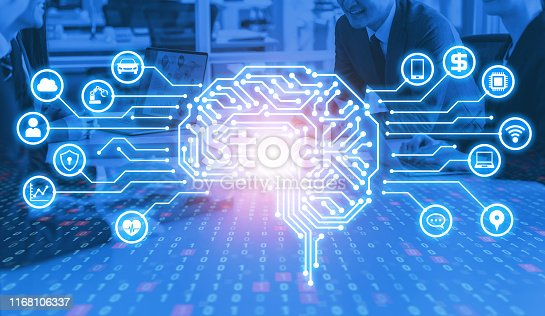 1140691204istockphoto AI (Artificial Intelligence) concept. Electronic circuit. Communication network. 1168106337