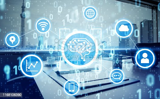 851956284istockphoto AI (Artificial Intelligence) concept. Electronic circuit. Communication network. 1168106390