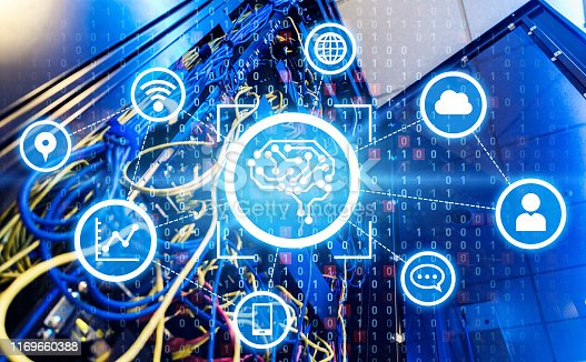 838379014istockphoto AI (Artificial Intelligence) concept. Electronic circuit. Communication network. 1169660388