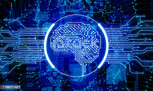 1140691204istockphoto AI (Artificial Intelligence) concept. Electronic circuit. Communication network. 1169711431