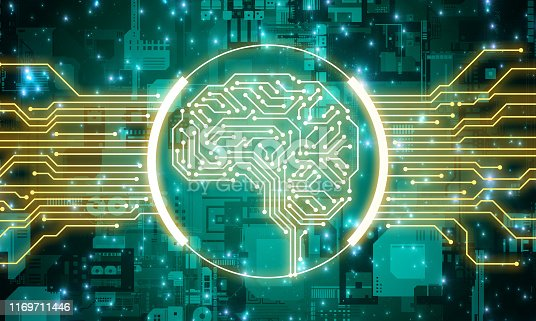 1140691204istockphoto AI (Artificial Intelligence) concept. Electronic circuit. Communication network. 1169711446