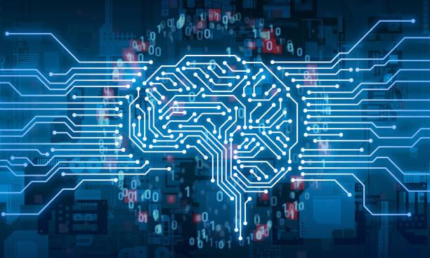 KI-Konzept (Artificial Intelligence). Elektronische Schaltung. Kommunikationsnetz. – Foto