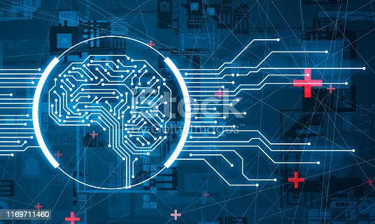 1140691204istockphoto AI (Artificial Intelligence) concept. Electronic circuit. Communication network. 1169711460